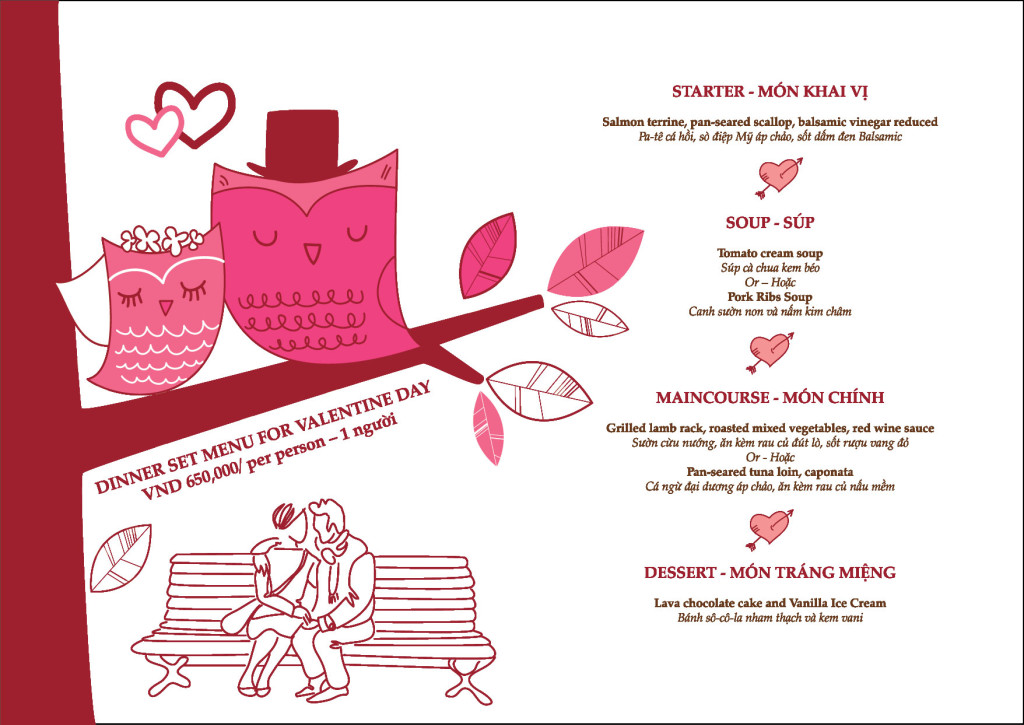 retro kitchen and bar valentine menu
